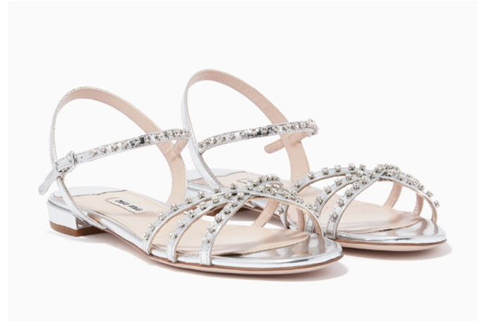 Miu Miu - Silver Crystal-Embellished Sandals